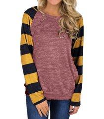 zanzea mujeres cuello redondo a rayas de manga larga tops blusa de la camisa suéter nuevo -rojo