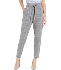 calvin klein slim-fit belted windowpane pants