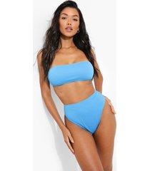 geribbeld hoog uitgesneden bikini broekje, blue