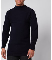 maison margiela men's funnel neck sweatshirt - navy - l