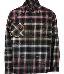 check print flannel skirt, black