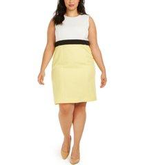 kasper plus size colorblocked dress