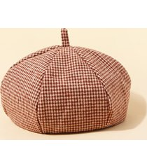 retro checkered pattern painter beret