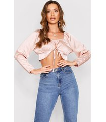 tie front satin puff sleeve crop top, champagne