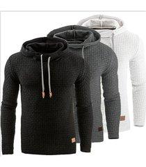 sudadera con capucha en color liso de manga larga para hombres-negro