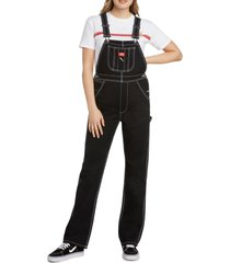 women's dickies relaxed twill overalls, size x-large - black