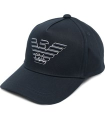 emporio armani embroidered-logo six-panel cap - blue