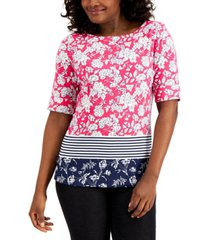 karen scott petite mix-print boat-neck top, created for macy's