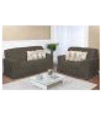 kit capa de sofá rajada grafite 2 e 3 lugares decore 2 peças textil lar