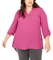 ny collection plus size split-neck roll-tab-sleeve top