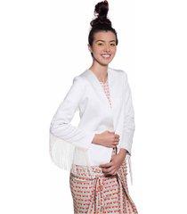 chaqueta blanca con flecos pdhs