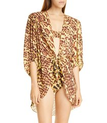 women's adriana degreas leopard print tie detail cover-up