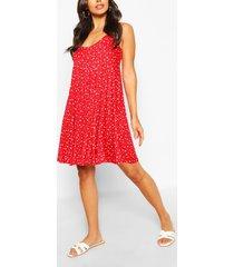 bloemenprint swing jurk, rood