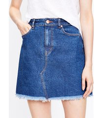 loft frayed denim shift skirt in mid indigo wash
