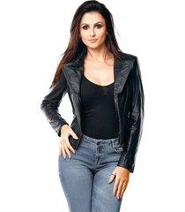 jaqueta parra couros feminina motoqueira preto