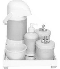 kit higiene espelho completo porcelanas, garrafa e capa provençal prata quarto bebê unissex