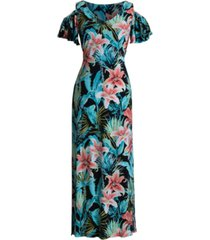 connected printed cold-shoulder maxi dress