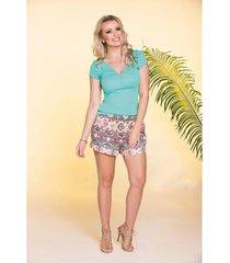 blusa via costeira em algodão feminina