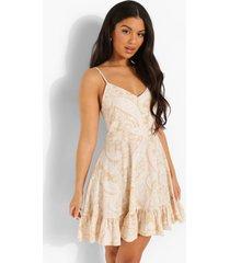 paisley swing jurk met ruches en rug strik, yellow