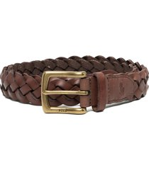 polo ralph lauren vegan leather braided belt - brown