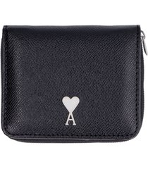 ami alexandre mattiussi small leather flap-over wallet