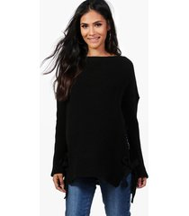 maternity tie side sweater, black