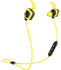 audifonos bluetooth, ks plus auriculares audifonos bluetooth manos libres  inalámbricos deportivos audífonos estéreo bajos con gancho de oreja mic voice prompt reducción de ruido manos libres sweatproof para teléfono (amarillo)