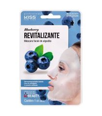 máscara facial de algodão kiss blueberry revitalizante | kiss | 20ml