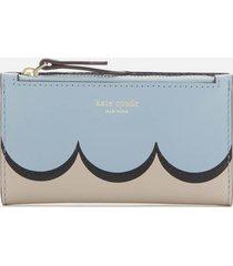 kate spade new york women's intarsia scallop small slim bifold wallet - horizon blue