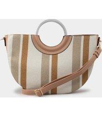 clover striped canvas tote - blush