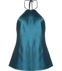 galvan satin necklace halterneck top - blue