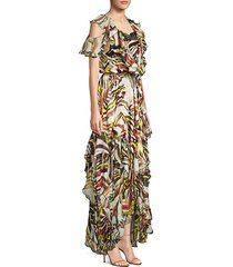 asymmetrical floral high-low silk maxi dress