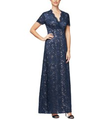 alex evenings sequinned embroidered a-line surplice gown