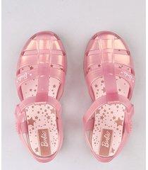 sandália infantil grendene barbie metalizada rosê