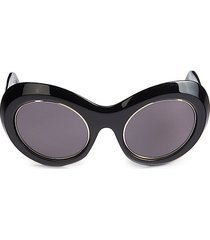 emilio pucci women's 55mm oval cat eye sunglasses - black