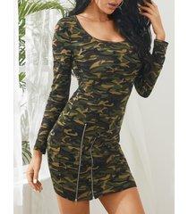yoins army green camo zip front mini vestido