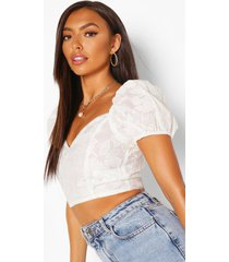 embroidered organza puff sleeve crop top, ivory