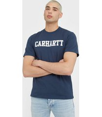 carhartt wip s/s college t-shirt t-shirts & linnen blue/white