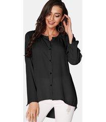 blusa de gasa con botones y mangas largas con cuello en v acogedor negro
