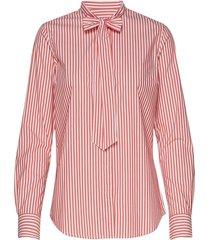 d1. tp bc striped bow blouse overhemd met lange mouwen roze gant