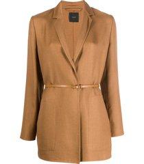 agnona belted waist blazer - neutrals