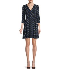 dot-print faux wrap mini dress