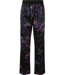 just don tie-dye print track trousers - black