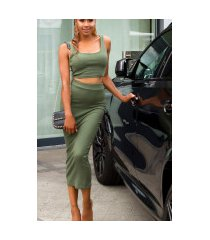 sexy set crop-top en midi rok khaki