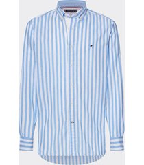 camisa de rayas en algodón y lino azul tommy hilfiger