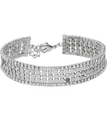 bracciale con strass in metallo rodiato color argento per donna