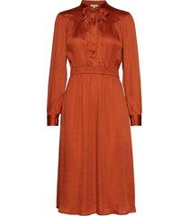 satin bow dress jurk knielengte oranje by ti mo