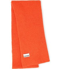 women's ganni recycled wool blend scarf, size one size - red