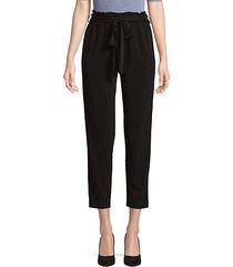 slim-fit paper bag-waist cropped pants