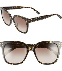 women's rebecca minkoff cyndi 54mm studded sunglasses - dark havana
